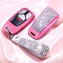 Diamond Car Key Cover Case For AUDI A4 B9 Q5 Q7 TT TTS 8S 2016 2017 Chain Keyring for Girls Women Gifts Artificial crystal