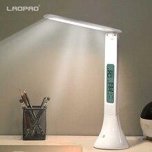 주도하는 데스크 램프 접이식 디 밍이 가능한 터치 테이블 램프 달력 온도 알람 시계 테이블 라이트 야간 조명 laopao