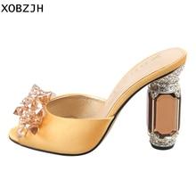 цена High Heels Sandals Women Shoes 2019 Sexy Ladies Luxury Leather Rhinestone Summer Sandals block heel wedding Shoes Woman Open Toe онлайн в 2017 году