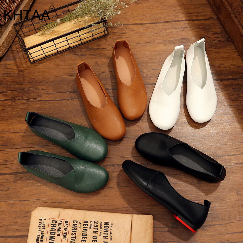 Lady Casual Loafers Flat Shoes Women Slip on PU Pumps Shoes Comfy Walking Shoes