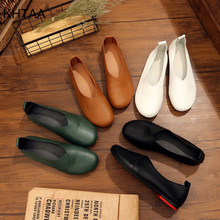 Mocasines para mujer, Primavera, zapatos de Ballet para mujer, mocasines casuales de mujer, cómodos, Vintage, de piel sintética, de talla grande, 2020
