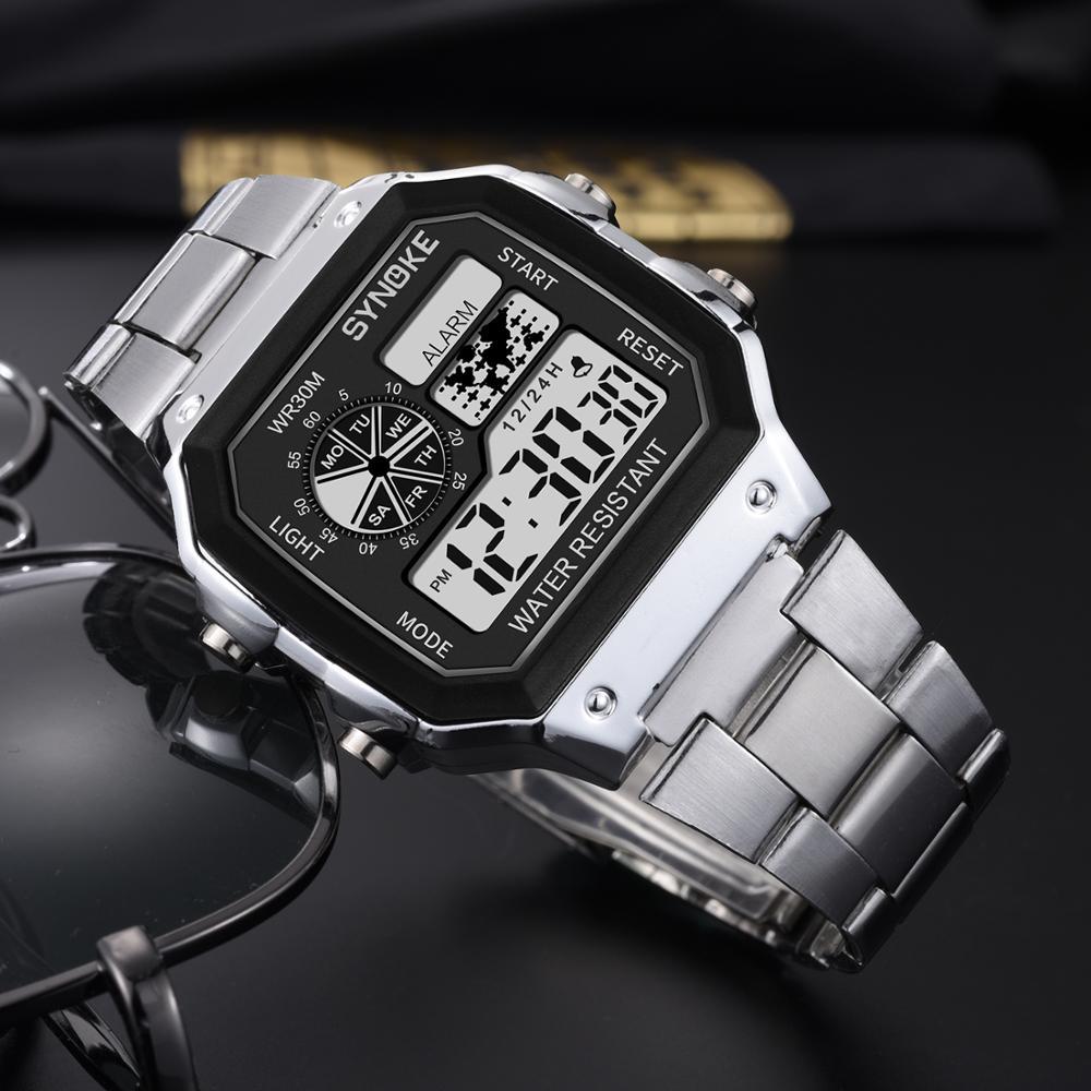 SYNOKE 2019 Men Luminous Sport Watch Multi-function Business Waterproof Male Wrist Watch Digital Watch Alarm Timer Clock