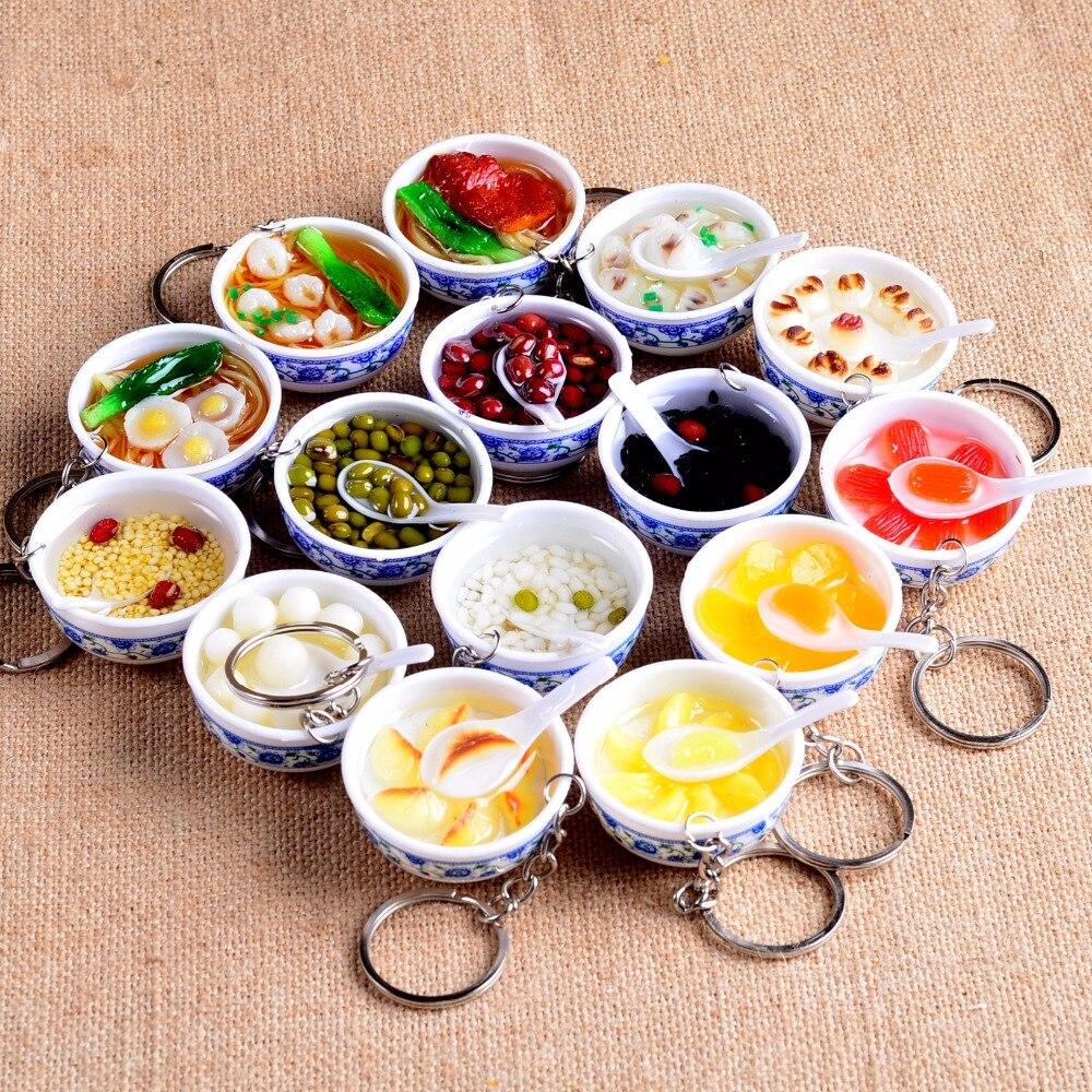 Cinese creativo di Simulazione di Cibo Mini Divertimento Ciondolo Portachiavi Resina Noodle Metallo Chiave Portachiavi Ad