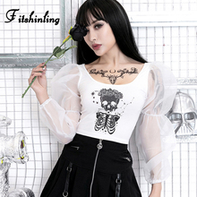 Fitshinling Skull Print Gothic T-Shirts For Women Mesh Puff Sleeve Patchwork Crop Top Autumn Harajuku White Female T-Shirt Sale