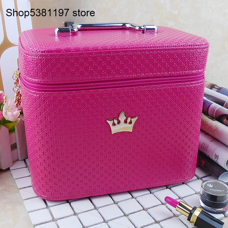 High Quality Cosmetic Bag Women Noble Crown Large Capacity Professional Makeup Organizer Portable Brush Storage Case Toiletry
