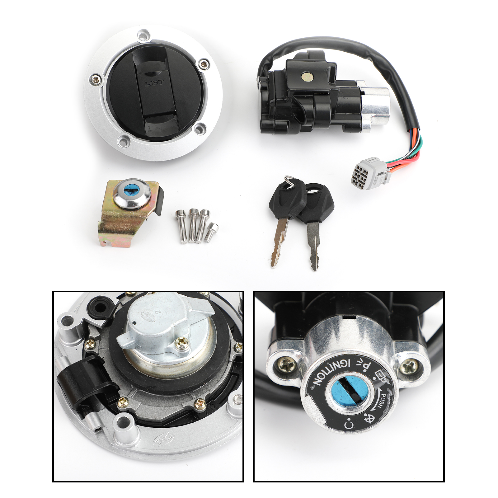 Artudatech Ignition Switch Fuel Gas Cap Lock Keys For Suzuki <font><b>GSF</b></font> <font><b>650</b></font> 1200 1250 Bandit image