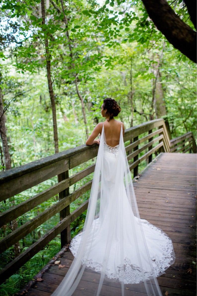 Wedding Cape, Bridal Cape Veil ,Wedding Cape Veil, Modern Veil, Drape Veil Cape In White, Off White , Ivory, Black ,Champagne