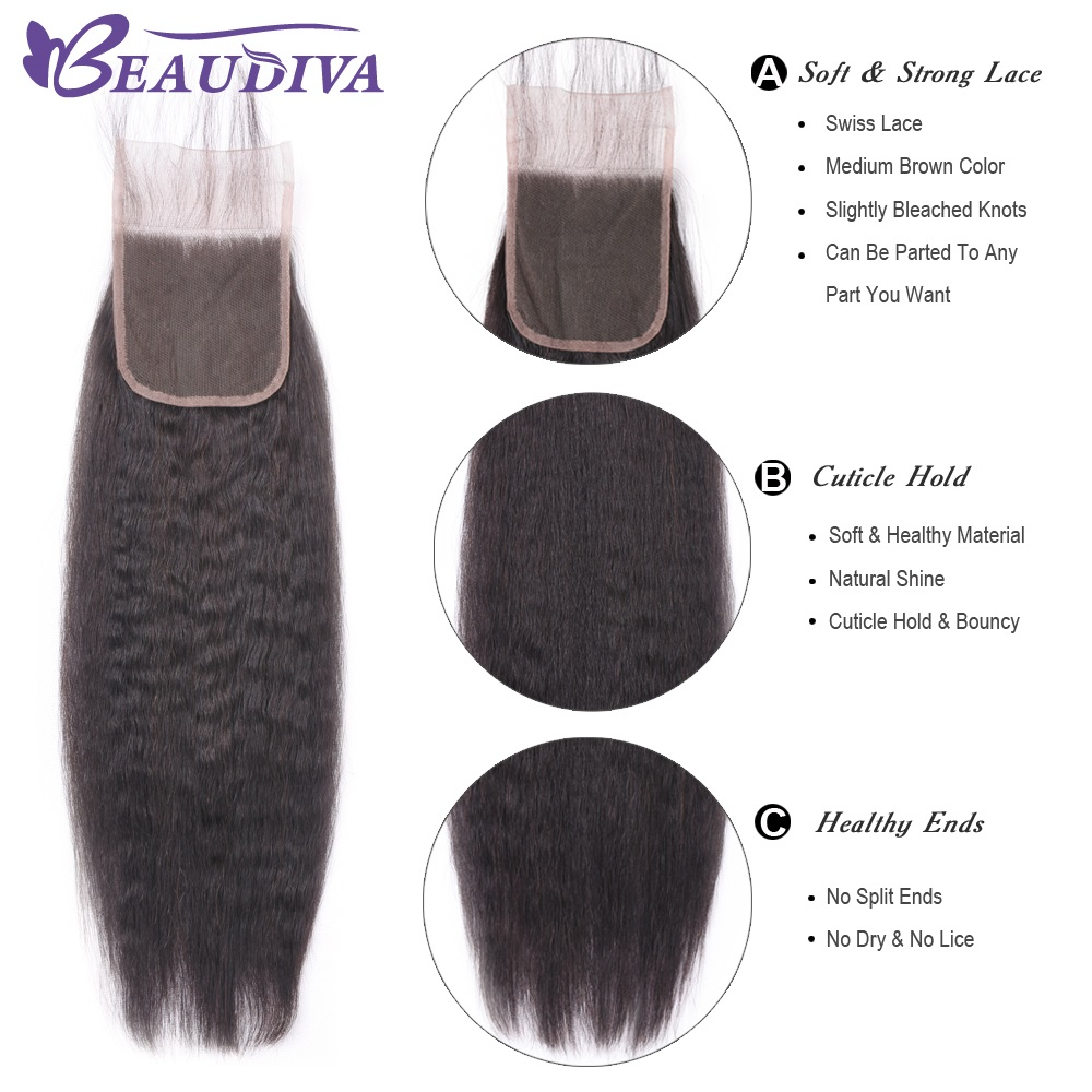 Kinky Straight Bundles With Closure  Kinky Straight  3 Bundles With Closure BEAUDIVA Closure With Bundles 5