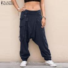 ZANZEA Women Pants Casual Elastic Waist Drop Crotch Harem