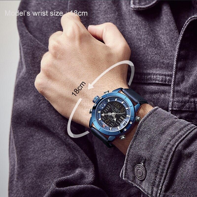 NAVIFORCE Watch Men Luxury Army Military Sport Leather strap Wristwatch Mens Waterproof Digital Quartz Clock Relogio Masculino