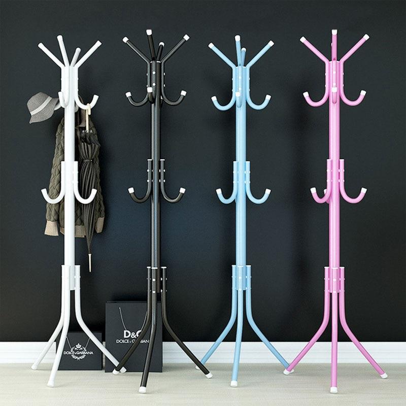 32mm Tube Assembled Metal Hangers Hat Coat Display Floor Standing Rack 9/12 Hooks Clothes Hanger Bedroom Clothing Organizer