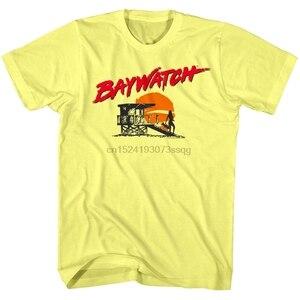 Resmi Baywatch erkek tişört cankurtaran kulesi siluet Sunset gömlek