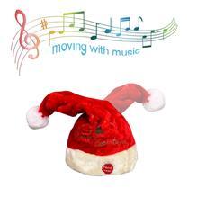 Электрическая игрушка Рождественская шляпа красный бархат вышитые музыка поворотная крышка вечерние украшения Рождественский подарок музыка качели Санта Клаус шляпа