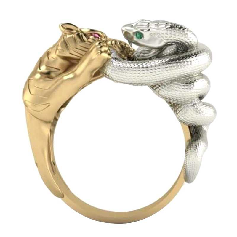 Moda żółty słodki i słodki podwójny kolor pierścień Hip Hop tygrys wąż walka zielony i czerwony kryształowe oko szmaragdowy pierścień zwierząt