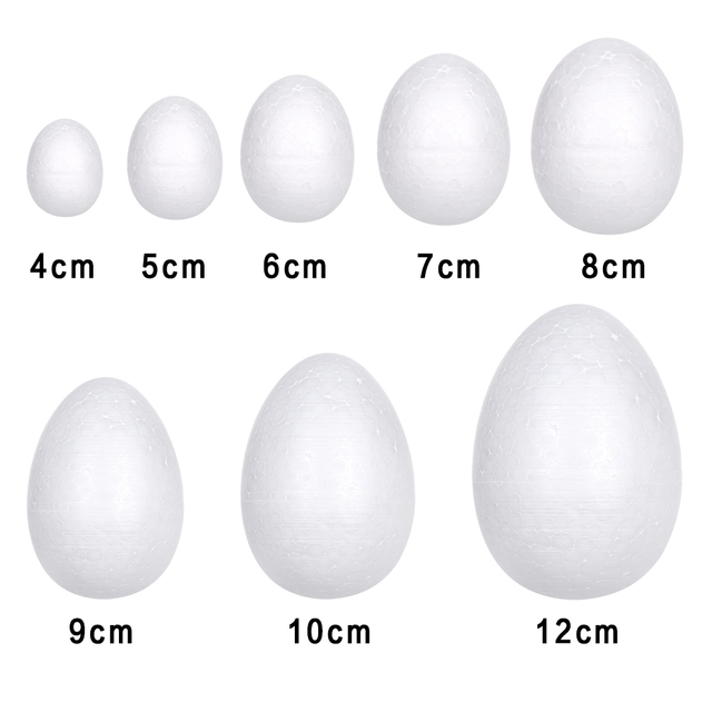 10pcs/pack Easter Handmade DIY Painting Egg Accessories White Foam Egg Easter Party Supplies Kids Gifts Favors Party Decorations