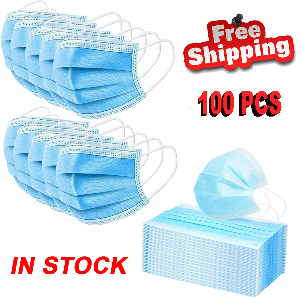 100PCS Face Mouth Mask Anti-dust Mask Disposable Protect 3 Layers Filter Earloop Non Woven Mouth Mask In Stock Pm2.5 Mask