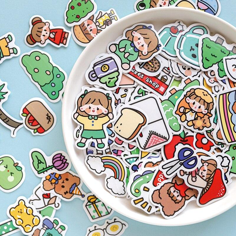 Yoofun 100 шт/партия, разные узоры милые Канцтовары Мультяшные наклейки клейкая бумага для художественной печати наклейка украшение для дневни...