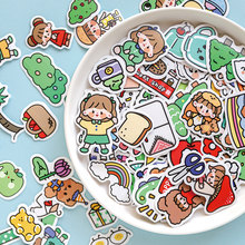 Yoofun 100 Pcs Different patterns Cute cartoon stationery stickers Adhesive Art Paper Sticker Diary Decoration Label Sticker