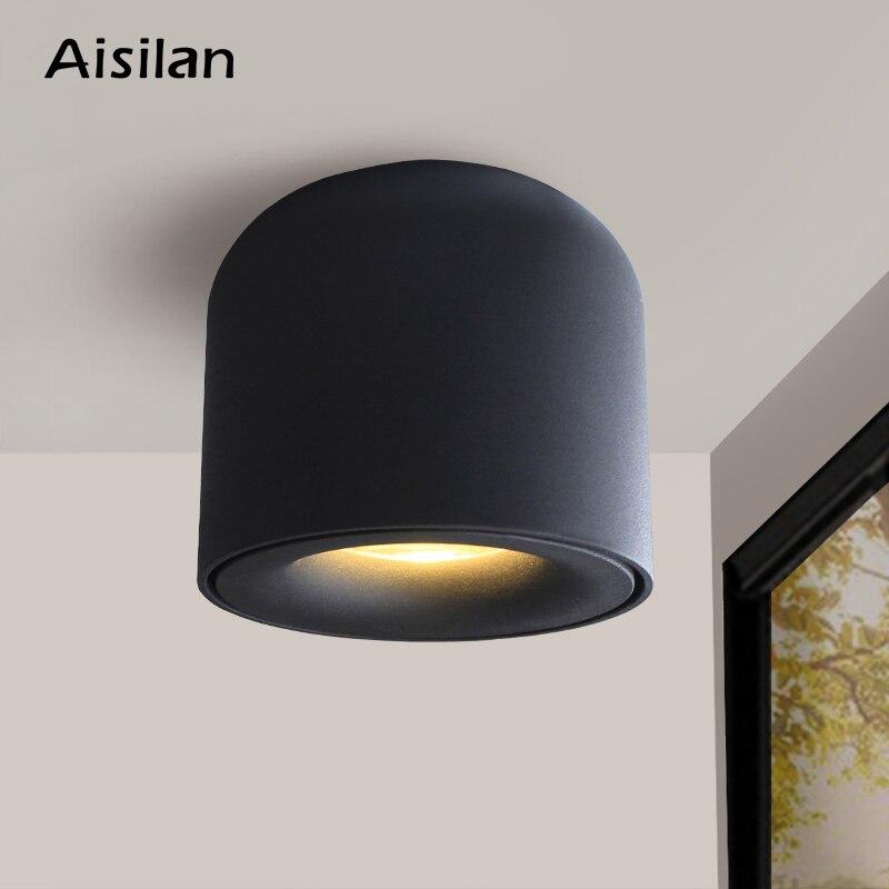 Aisilan led typu downlight sufitowe reflektory lampa dzienna oświetlenie w stylu nordyckim do kuchni nawy światło punktowe montowane na powierzchni AC90-260v