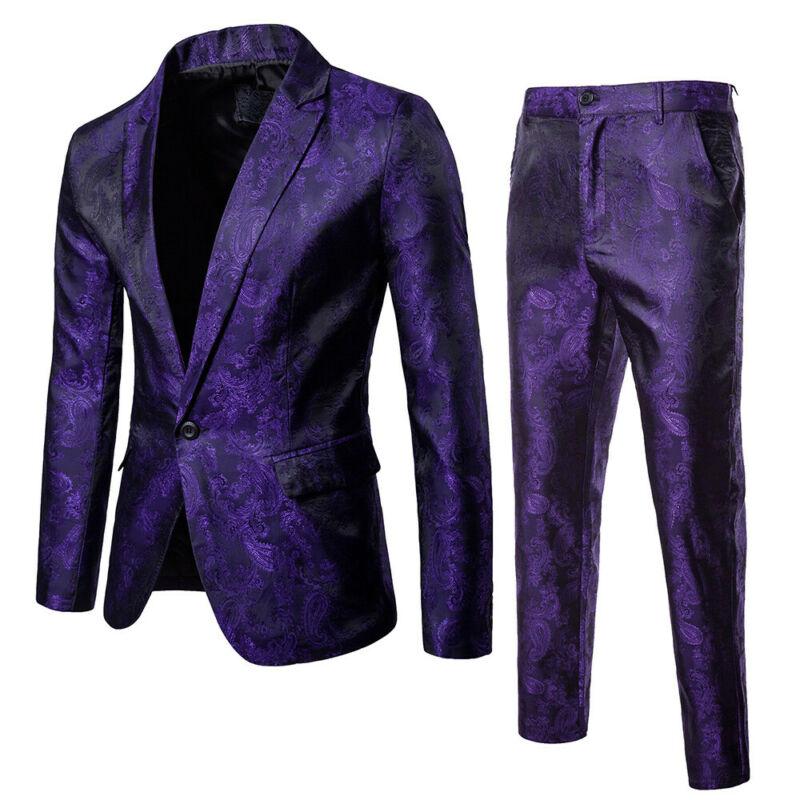 Hot Sell 2 Pcs Men Formal Blazer Suit Tux Wedding Dress Outfits Dark Grain Court Style Blazer Suit Plus Size