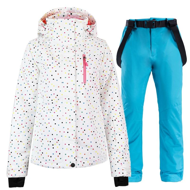 2in1 Women Winter Ski Suits Russia Windproof Waterproof Mountain Ski Jacket  Pants Snow Sets Skiing Sports Snowboarding Suit