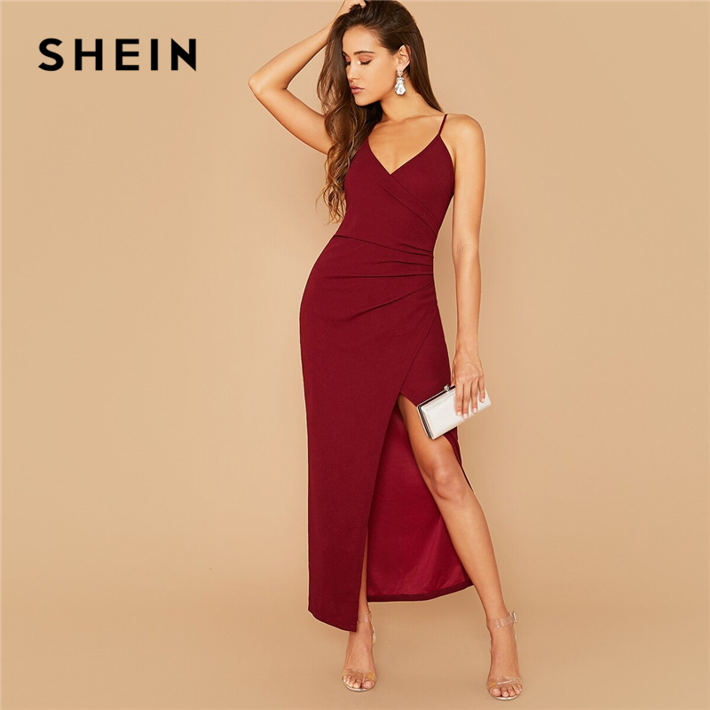 SHEIN Wrap Ruched Side Split Thigh Slip Dress Women Summer Autumn Spaghetti Strap Sexy Night Out Party Cami Maxi Dresses