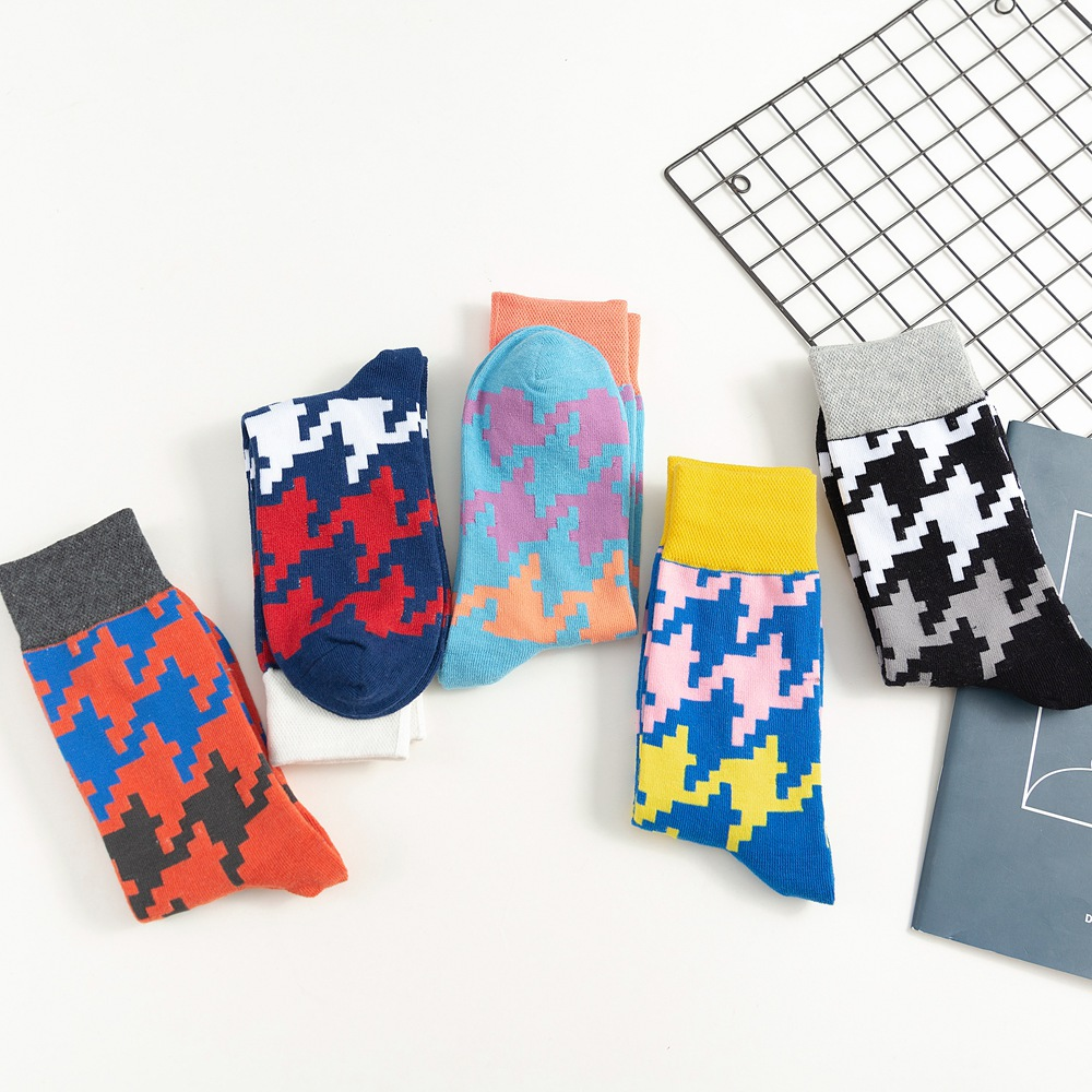Fashion Women Medium Funny Socks Cotton Pixel Grid Diamond Jacquard Ladies High Socks Japanese Style Gifts For Women 219