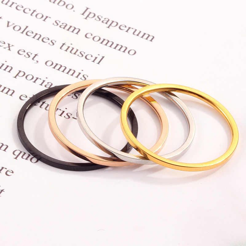 แม่ 2019 ใหม่เงินทอง 1 มม.แหวนไทเทเนียมสแตนเลสสำหรับผู้หญิงผู้ชายสไตล์เรียบง่าย Ins แหวนเล็กๆน้อยๆแหวน