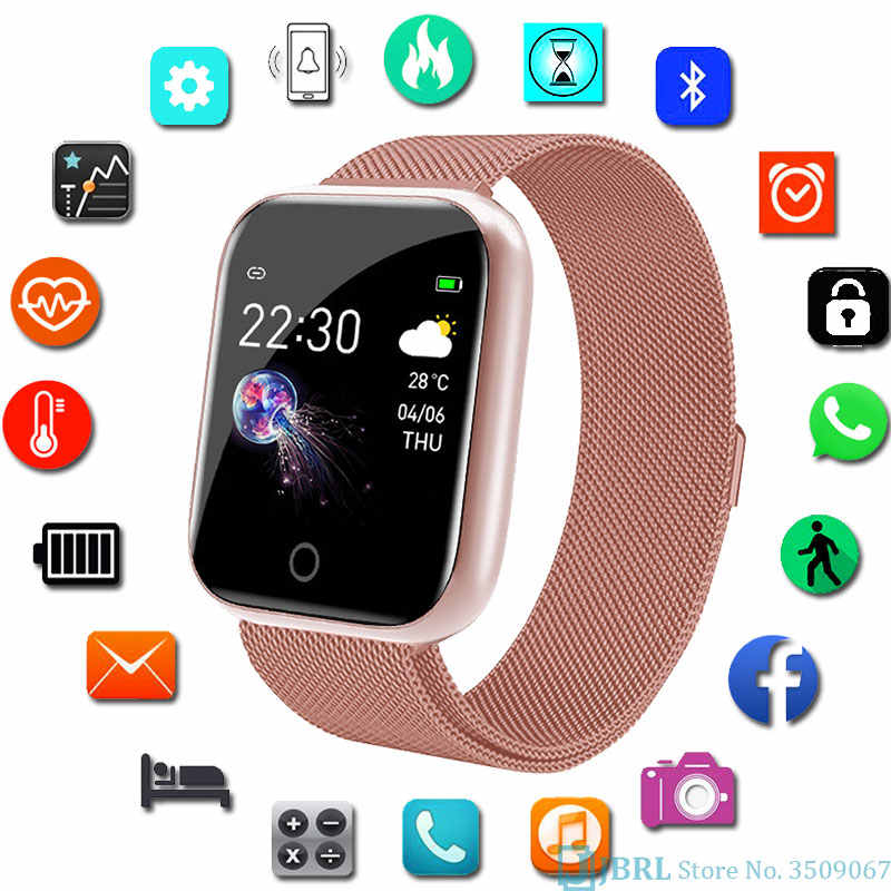 Montre intelligente en acier inoxydable femmes hommes Smartwatch pour Android IOS électronique horloge intelligente Fitness Tracker carré montre intelligente heure