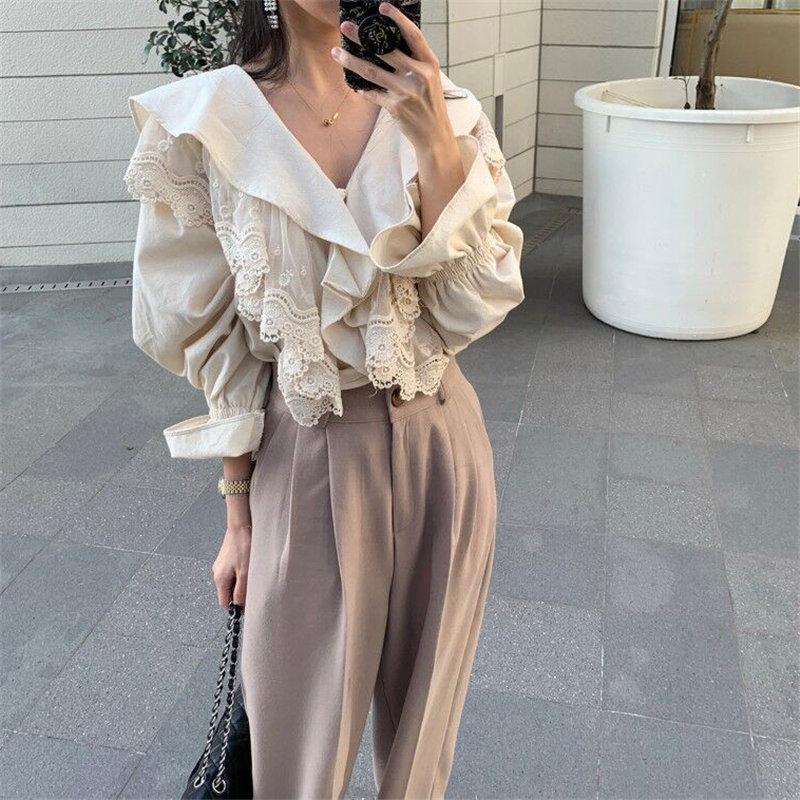HziriP Hot Sale Elegant V-Neck Lace Ruffles 2020 Korean Style Feminine New Design Fashion Gentle Women Sweet Casual Loose Shirts