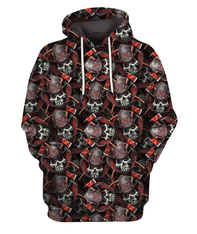 Firefighter Skull Pattern Men Women flag Hoodies Police 3D Print skull Crewneck Sweatshirt suit Plus size in Hoodies amp Sweatshirts from Men 39 s Clothing