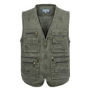 Image 4 - 5XL 6XL 7XL Nieuwe Mannelijke Toevallige Zomer Grote Size Katoen Mouwloos Vest Met Vele 16 Zakken Mannen Multi Pocket Foto vest