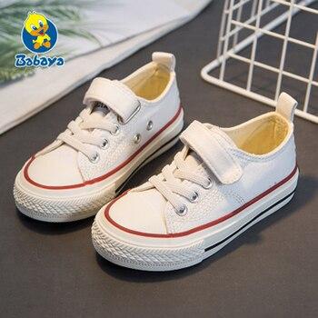 Kids shoes for girl children canvas boys sneakers 2019 Spring autumn girls White black Solid fashion Children