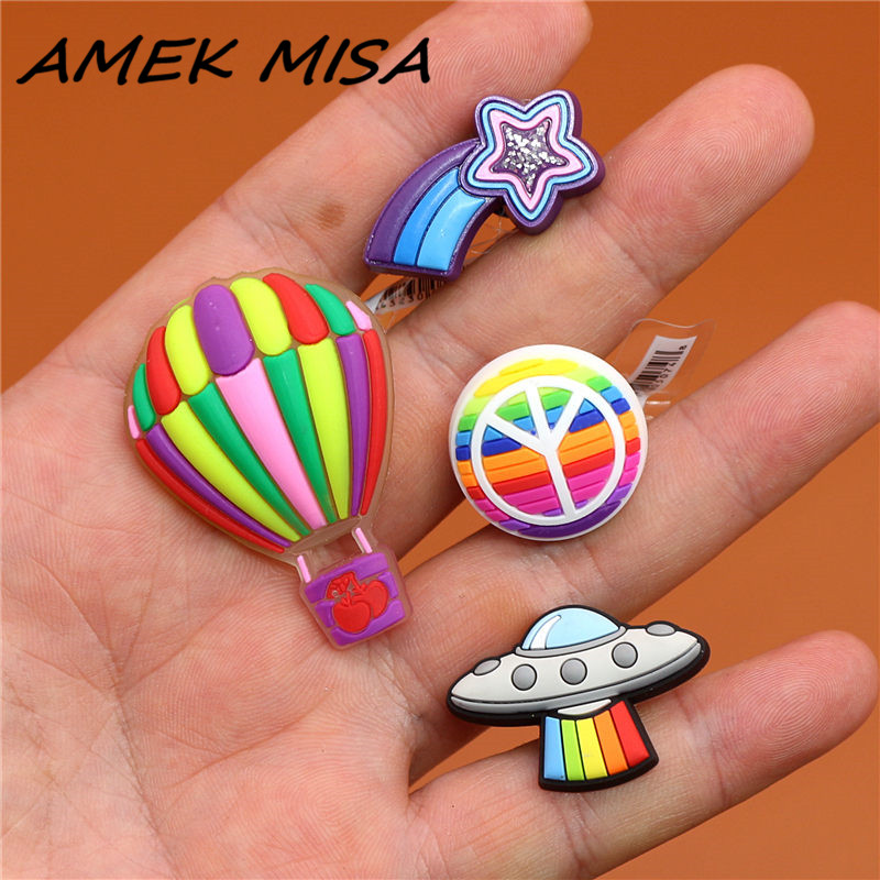 Single Sale 1pc Original Shoe Charms Shooting Star UFO Peace Balloon Shoe Accessories Buckle Decorations Fit Croc JIBZ Kids Gift