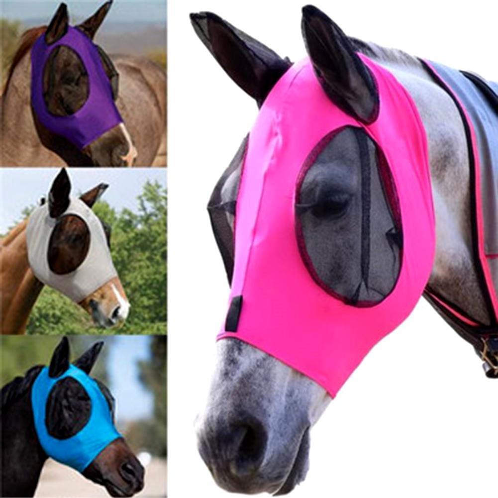 Respirável anti-mosquito leve confortável cabeça de cavalo capa de rosto com orelha