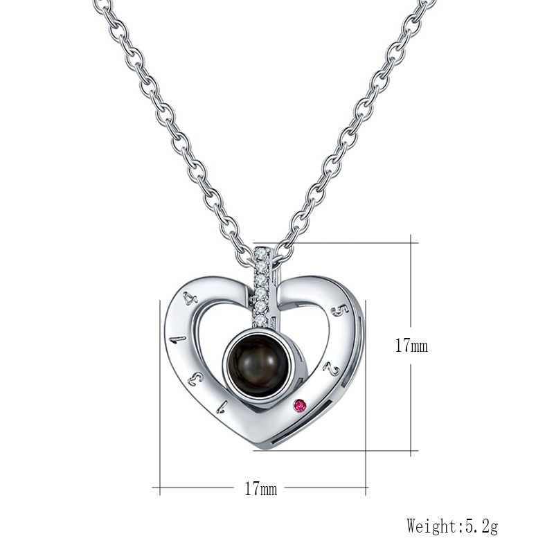 CARSINEL w kształcie serca w kształcie serca kocham cię 100 językach projekcji naszyjnik różowe złoto I srebro romantyczna miłość pamięci naszyjnik biżuteria