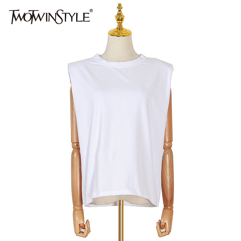 TWOTWINSTYLE Casual Women's Tank Top O Neck Sleeveless Loose Ruched Streetwear Vest For Female Fashion Clothing 2020 Spring Tide