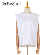 TWOTWINSTYLE Casual Women's Tank Top O Neck Sleeveless Loose