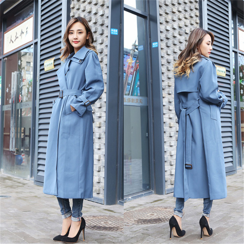 2019 New Large Size Spring Autumn Women's   Trench   Coats Chic Slim X Long Windbreaker Outerwear N962