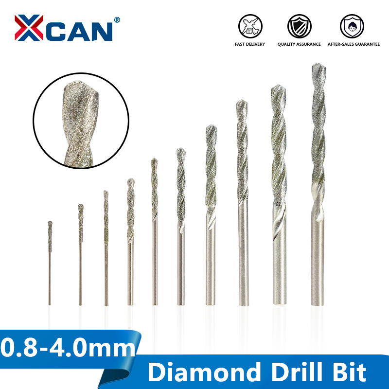XCAN Diamond Coated Twist Drill Bit 0.8-4.0mm Gun Drill Bit For Glass Tile Stone  Hole Cutter