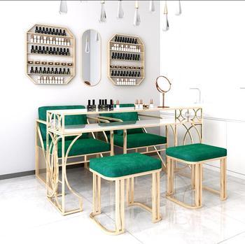 Marmurowy stół do manicure zestaw krzeseł pojedyncze podwójne światło luksusowy stół do manicure prosty stół do manicure iron art tanie i dobre opinie Andessoer CN (pochodzenie) Metal Salon mebli Stół paznokci Meble sklepowe