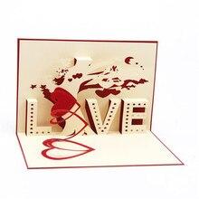 лучшая цена Greeting Card Three-dimensional Greeting 3D Paper-cut Custom Love Tree Valentine's Day Gift Greeting Card Postcard