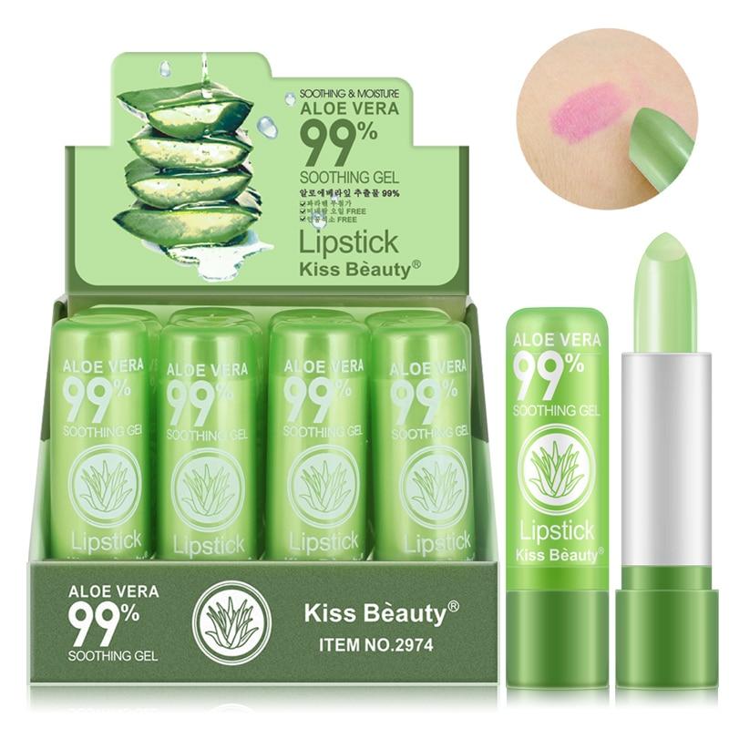 1 PCS Aloe Vera Natural Moisturizer Lipstick Temperature Changed Color Lipbalm Natural Magic Pink Protector Lips Makeup TSLM2 1