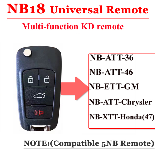 Free Shipping (1 Piece)NB18 Universal Multi-functional Kd Remote 3 Button NB Series Key For KD900 URG200 Remote Master