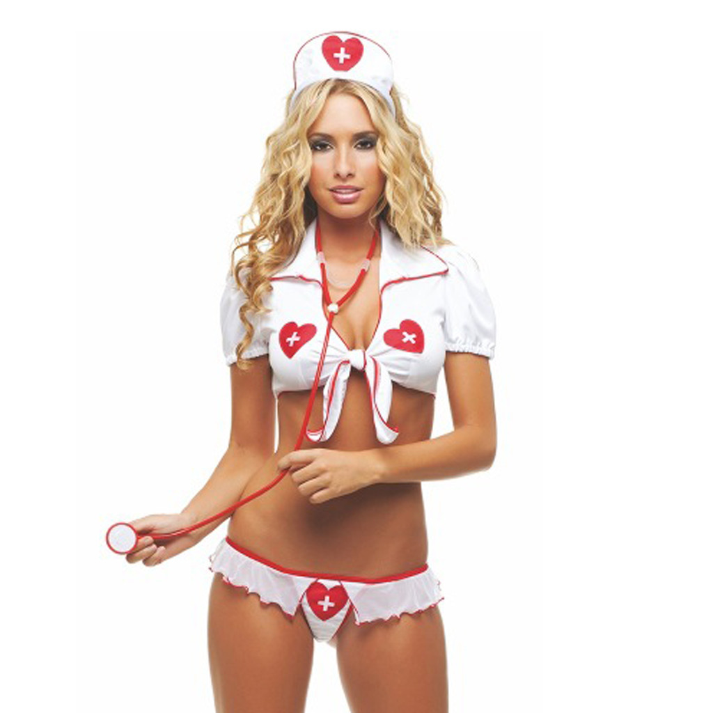 Cosplay Sexy Lingerie Women Porno Sexe Temptation Nurse Uniform Erotic Babydoll Latex Plus Size Sexy Underwear+G-String+Headwear
