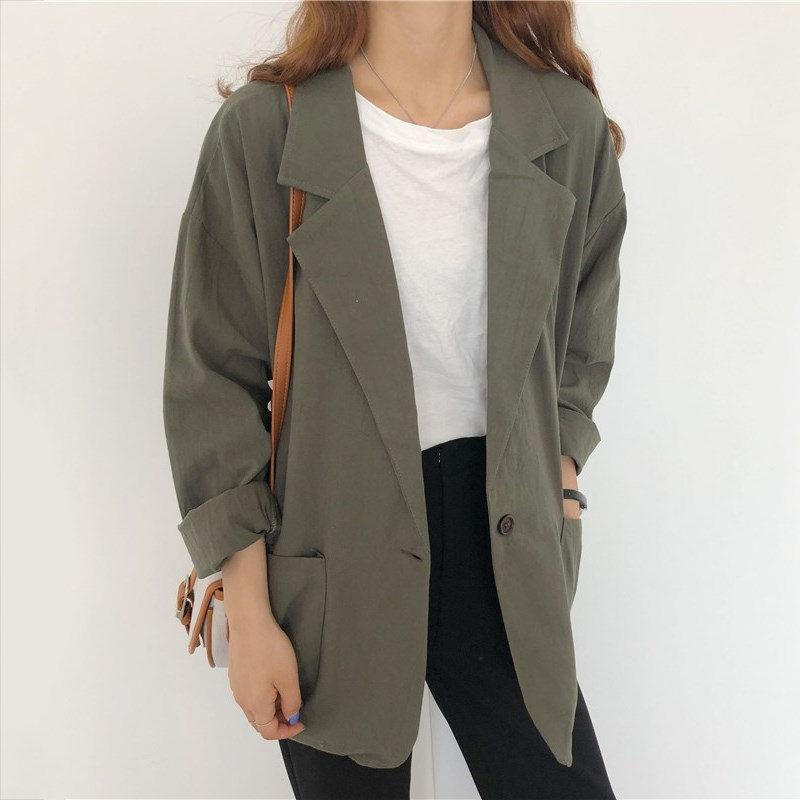 HziriP All-Match Thin Plus Casual Single-Button Brief Stylish Autumn Loose Vintage Streetwear High Quality Office Lady Blazer