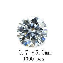 1000pcs 0.7~5.0mm bright Zirconia Cubic high quality 5AAAAA Circular Machine Cutting Loose DIY Jewelry Artificial gem