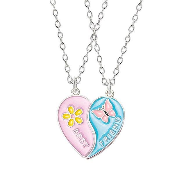 Fashion Best Friends Honey Love Couple Pendant Necklace2 Pcs/ Set  Rainbow Broken Heart Choker Gift Friendship Jewelry Wholesale 5
