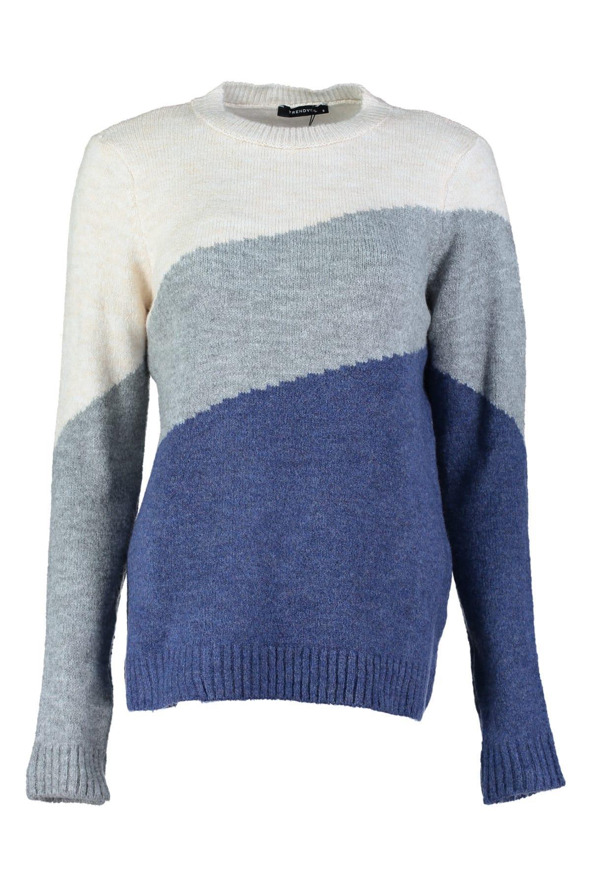Trendyol WOMEN-Navy Blue Colorblock Sweater Sweater TWOAW20FV0058