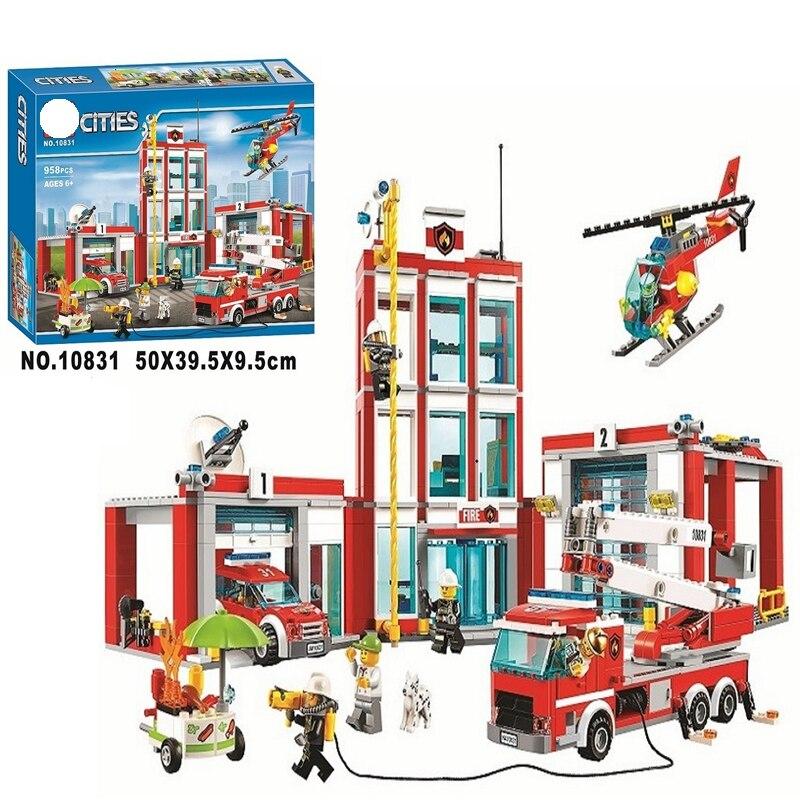 958 piezas legoinglys Serie de la ciudad 60110 modelo de estación de bomberos bloques de construcción de juguete para niños Regalo de Cumpleaños 10831 Ciudad construcción vehículos barredora limpieza coche basura Trcuk bloques de construcción modelo niños juguetes regalos compatibles Legoinglys